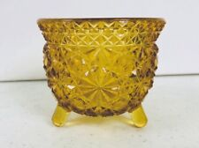 Amber Glass Daisy And Button 3 Footed Small Dish Bowl Vintage EUC.