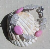 "Rose Quartz & Clear Quartz Crystal Gemstone Beaded Chakra Bracelet ""Ice Rose"""