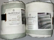 Two Hearth and Hand With Magnolia Green Stripe Kids Standard Pillow Sham New.