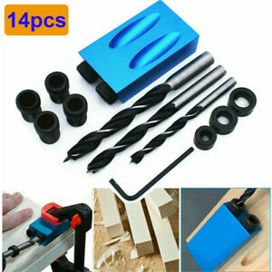 14pcs Silverline Pocket Hole Screw Jig Kit Woodworking Guide Drill Angle Locator