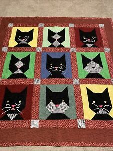 Hand Crafted (CATS) Quilt50 x 50 inches. Hand/machine quilted