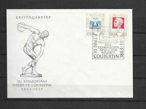 DDR - Nr. 939° - 940° 100. Geburtstag v. Baron P. de Coubertin - FDC von 1963 -