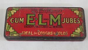 vintage MacRobertson's E.L.M gum jubes hinged lid tin
