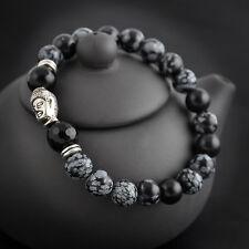 Mens Natural White Spot Stone Charm 8mm BeadsTibetan Silver Buddha Bracelet Gift