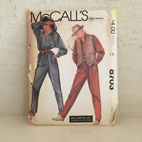 Vintage 1980s McCall's sewing pattern 8703 Willi Wear jumpsuit, vest 14-16 uncut
