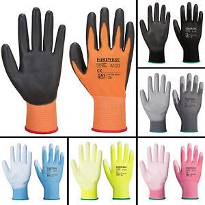 Portwest A120 PU Palm Grip Coated Work Gloves Garage Gardening DIY Safety Gloves