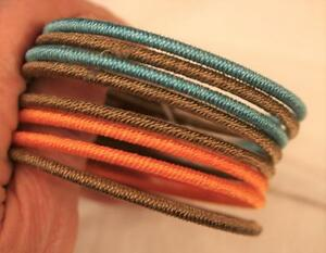 Set of 8 Cord Covered Peach, Coffee Brown & Teal Blue Green Bangle Bracelets