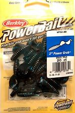 "Berkley PowerBait Black/ Blue 2"" Power Grub Lures Soft Baits"