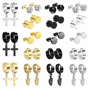 18 Pairs Stainless Steel Huggie Hoop Hinged Stud Earrings Cross Feather Dangle