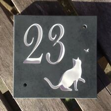 "CAT Slate House Sign Door Number 4"" x 4"" CAT DESIGN Any Number Engraved"