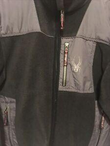Spyder Fleece Jacket Black Gray Men's Size Medium