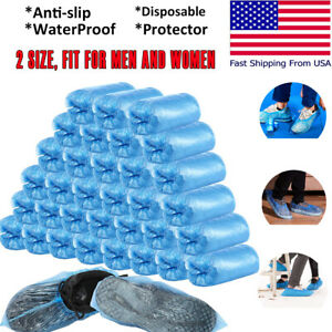 100-300 Disposable Shoe Covers Plastic Overshoes Blue Floor Boot Protector Cover