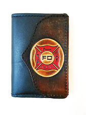 Firefighter Leather Trifold Wallet, Fireman Fire Department Free Key Chain