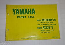 Ersatzteilliste / Spare Parts List Yamaha RS 100 / RS 100 DX '79 Stand 09/1978