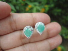 Natural Green EMERALD & White CZ 925 Silver Stud EARRINGS
