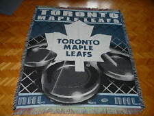 "TORONTO MAPLE LEAFS NHL THROWN 100% COTTON KNITWEAR BLANKET (56"" X 48"") INCHES"