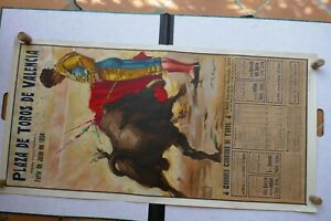 1954 Affiche ancienne TAUROMACHIE CORRIDA plaza VALENCIA l ESPAGNE  lithographie