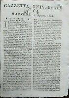1802 GAZZETTA UNIVERSALE: ANARCHIA ALBANIA; TURCHIA; VALACCHIA; MURAT; CANADA...