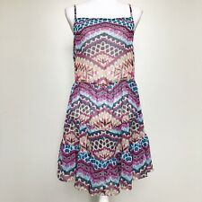 Becca Womens Swim Cover Up Dress Semi Sheer Multi Print Tiered Lace Up Back * L