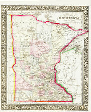 1862 MITCHELL Hand Colored Map MINNESOTA the GOPHER STATE - Outstandining