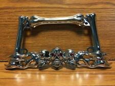 Custom Skull & Bones Chrome License Plate Frame with Flames for Harley, Chopper