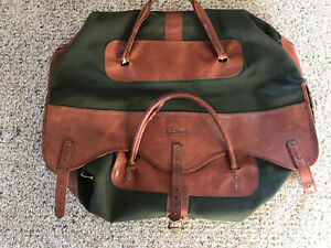 Vintage LL Bean Green Canvas and Leather Duffle Bag