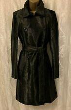 Karen Millen Pony Print Fur Collar Wrap Belt Classic Long Black Coat 8 10 12 14