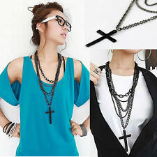 Women Vintage Cross Pendant Long Chain Beaded Charm Sweater Necklace Black