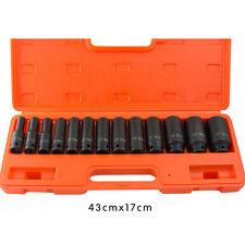 "13 pc 1/2"" inch Deep Impact Socket Tool Set 10-32mm Metric Garage Workshop+ Case"