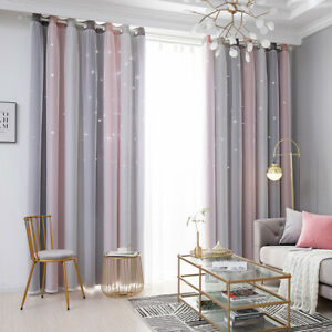 Gradient Starry Stars Tulle+Blackout Curtains Boys Girls Room Decor UK.