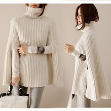 Para Mujer Suéter de abrigo de invierno de cabo suelto tejer una línea Capa Manga murciélago Prendas para el torso B74
