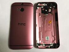 Original Htc One M8 Rosa Carcasa Chasis Tapa Trasera Lente de cámara antena de grado B