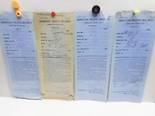 Vintage - CANADIAN PACIFIC RAILWAY - 4 Empty Car Transfer Slips - 1908