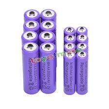 8x AA 3000mAh +8x AAA 1800mAh 1.2V NI-MH recargables batería 2A 3A púrpura