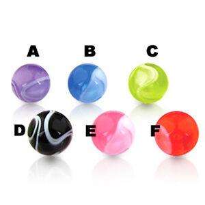 2er Set 1,6mm x 8mm Piercing Kunststoff Marmor Schraub Kugel Belly Ohr Piercing