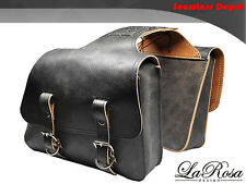 LaRosa HD Sportster Saddlebags - Rustic Black Leather Throw Over Left Right Bag