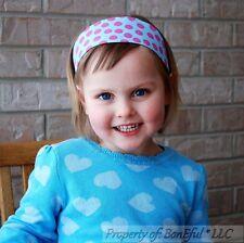BonEful RTS NEW Boutique Fabric Headband Aqua Blue PINK Minnie S Dot Flower Girl