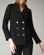 NWT BURBERRY BRIT Tumblebridge Black Double Breasted Peacoat Coat US 12P, UK 14P