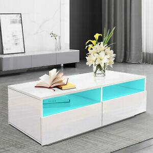 Modern Coffee Table 4-Drawer Side Table High Gloss Living Room Furniture White