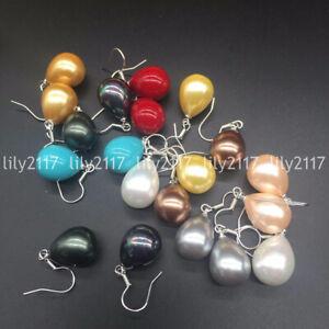 12x16mm Multi-Color Tear Drop South Sea Shell Pearl 925 Silver Dangle Earrings