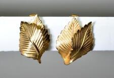 Signed LISNER Goldtone Textured LEAVES Shape Clip On Earrings