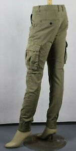 Men's Cargo Pants Trousers Elastic Banded Ankle Cuff, Slim Tapered Fit Workwears