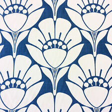 LHD240 Blue & White Floral Art Deco Retro Modern Spa Indoor Outdoor Fabric