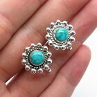 Old Pawn Navajo Sterling Silver Lone Mountain Turquoise Sun Screw Back Earrings