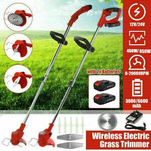 24V Cordless Strimmer Grass Trimmer Cutter Garden Edger 2 Li-Ion Battery & Blade
