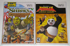 Nintendo Wii Game Lot - Shrek's Carnival Craze (New) Kung Fu Panda Warriors (New