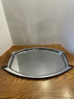 Vintage Mid Century Kromex Chrome Serving Tray With Wood Handles MOD RETRO