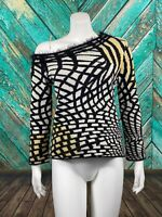 Versace Jeans Couture Womens Off Shoulder Sweater Large Wool Angora Black Yellow
