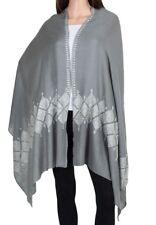 100% Cashmere Gray Scarf Pure Pashmina White Embroidered Mogul Floral design