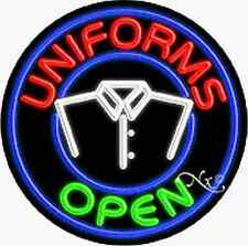 "New ""Uniforms Open"" w/Logo 26x26x3 Round Real Neon Sign w/Custom Options 11171"